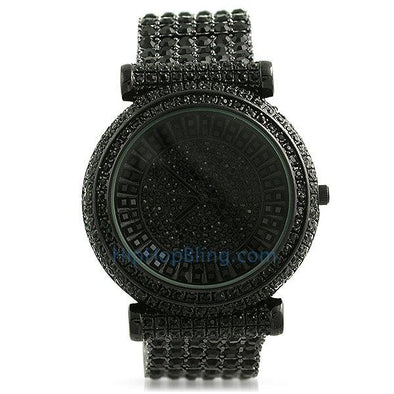 Baguette Baller Black Custom Bling Bling Watch