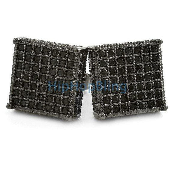 3D XL Box Black CZ Micro Pave Hip Hop Earrings