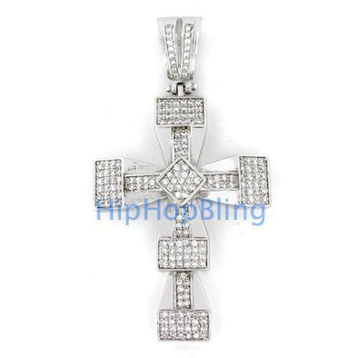 Bar Iced Out Cross Micro Pave Charm