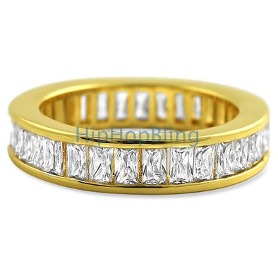 Baguette Eternity CZ Bling Bling Ring Gold