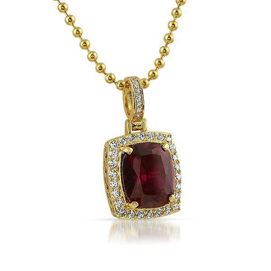 .925 Sterling Silver Rick Ross Style Lab Ruby Pendant