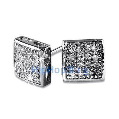 32 Stones Puffed Box CZ Micro Pave Earrings .925 Silver
