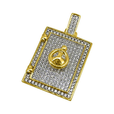 3D Safe Bank Vault Gold CZ Bling Bling Pendant