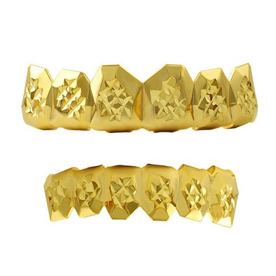 Custom Gold Grillz Diamond Cut Set