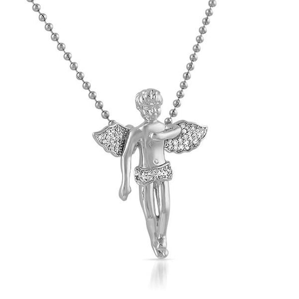 Cherub Angel Pendant Rhodium CZ Iced Out Pendant