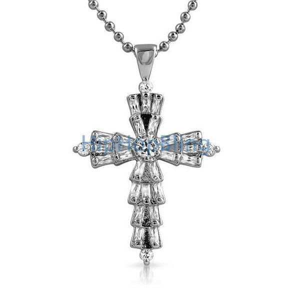 Custom Baguette Cross White CZ on Rhodium