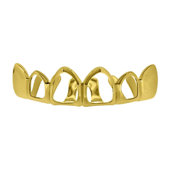 Gold Grillz 4 Open Outline Top Teeth