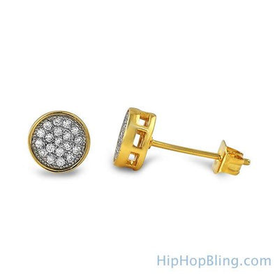 Gold Small Circle CZ Iced Out Earrings