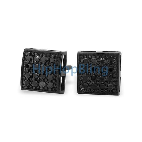 All Black Puffed Box CZ Micro Pave Earrings .925 Silver