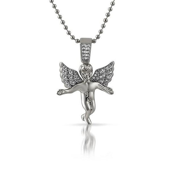 Iced Out Micro Angel Pendant Rhodium