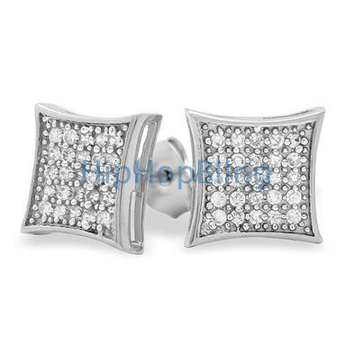Medium Kite CZ Micro Pave Iced Out Earrings .925 Silver