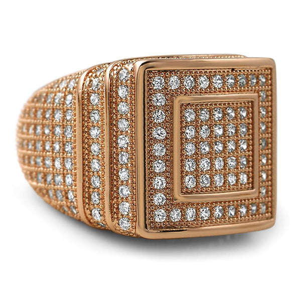 Ice Stacked Rose Gold CZ Micro Pave Iced Out Ring