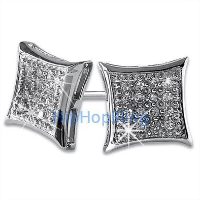 Kite 32 Stones Bling Bling CZ Micro Pave Earrings .925 Silver
