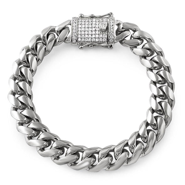 CZ Diamond Lock 12MM Cuban Bracelet Stainless Steel