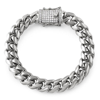 CZ Diamond Lock 14MM Cuban Bracelet Stainless Steel