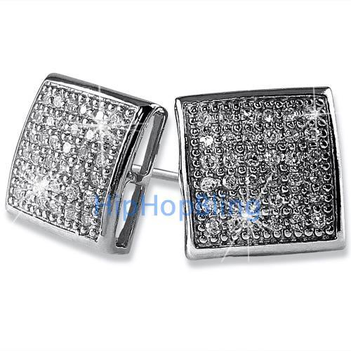 Large Puffed Box CZ Micro Pave Bling Earrings .925 Silver