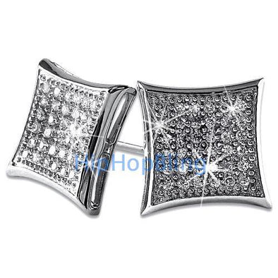 Kite Large Bling Bling CZ Micro Pave Earrings .925 Silver