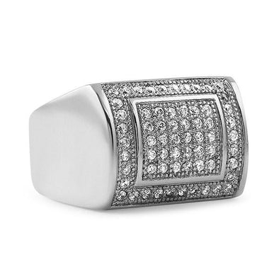 Iced Out Ring CZ Stainless Steel Hip Hop Style