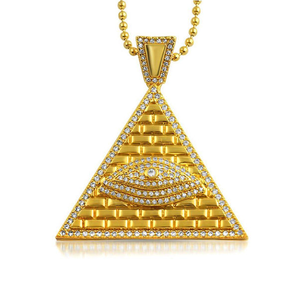 Eye of Providence Gold CZ Bling Pendant