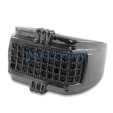 All Black Pimp CZ Micro Pave Silver Mens Iced Out Ring