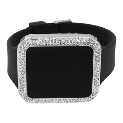 Bling Bling Silver Rectangle LED Touch Screen Watch Black Band