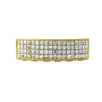 Gold 4 Row Princess Cut Grillz Bottom