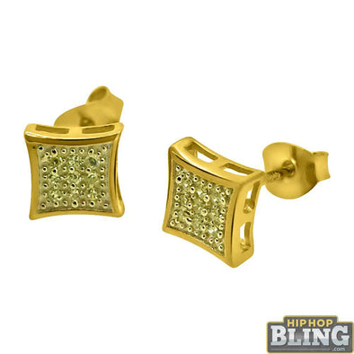 Canary CZ Gold Mini Kite Hip Hop Earrings