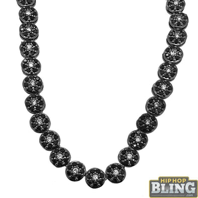 CZ Cluster Bling Bling Chain White Center Black