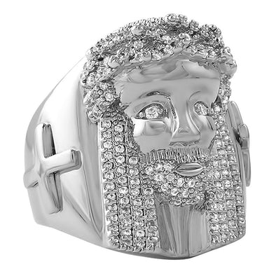 Iced Out Jesus Piece Cross Ring