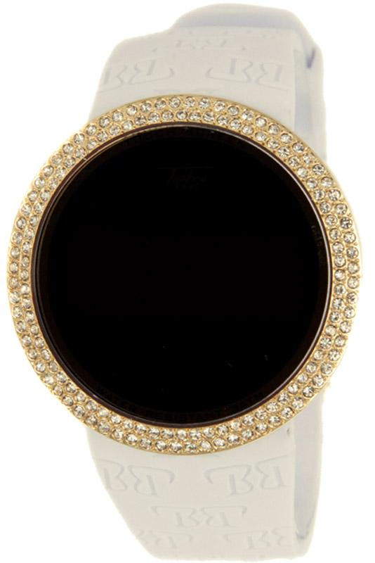 Bling Bling Gold Digital Touch Screen Watch White Band