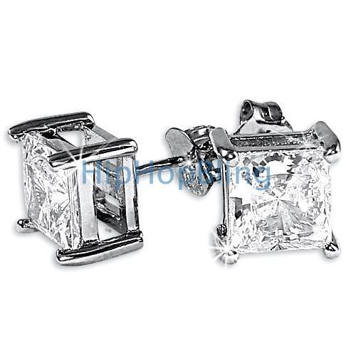 6mm Princess Signity CZ Sterling Silver Earrings