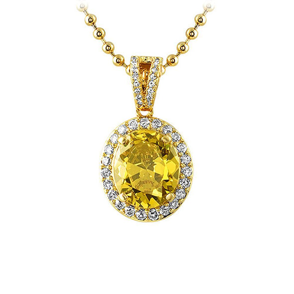 Canary Oval Cut Gem Hip Hop Pendant
