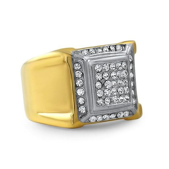 Gold Swag Stainless Steel Bling Ring