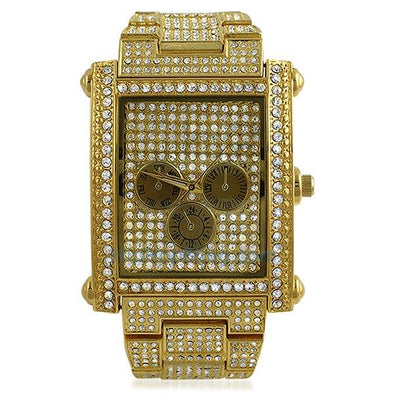 Custom Rectangle Gold Bling Bling Watch