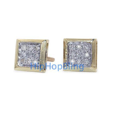 10k Yellow Gold Box .05 Carat Diamond Micro Pave Earrings