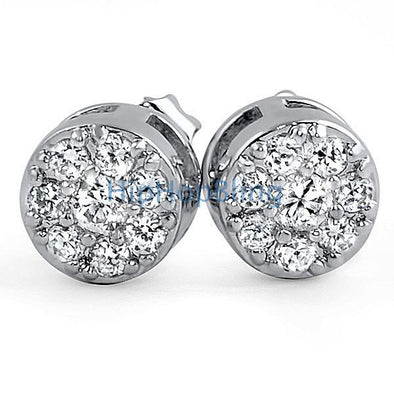 Rhodium Cluster Bling Bling CZ Earrings