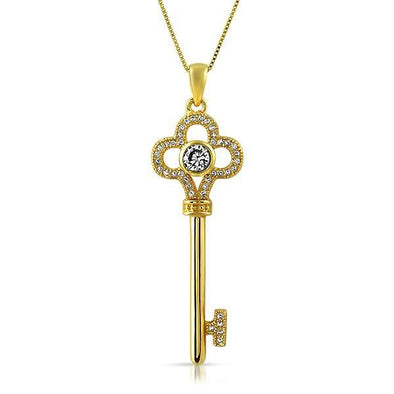 Gold Clover Key .925 Sterling Silver Pendant CZ
