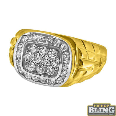 10K Yellow Gold Simple CZ Mens Ring