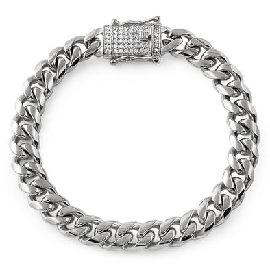 CZ Diamond Lock 10MM Cuban Bracelet Stainless Steel
