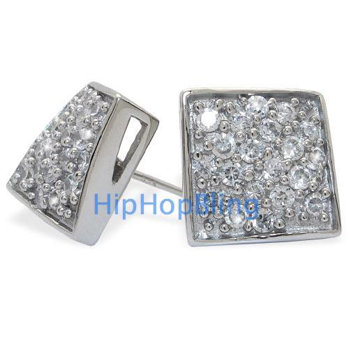 Twisted Box CZ Bling Micro Pave .925 Sterling Silver Earrings