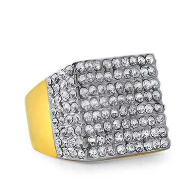Gold Pimp Stainless Steel Bling Bling Ring