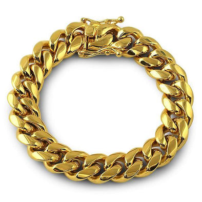 3X IP Gold Miami Cuban Bracelet Stainless Steel 14MM