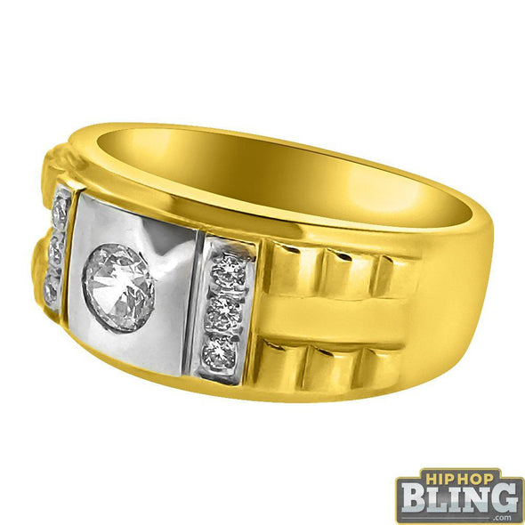 10K Yellow Gold Clean CZ Mens Ring
