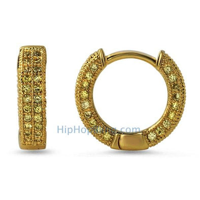 3D Hoop Earrings Lemonade CZ Micro Pave