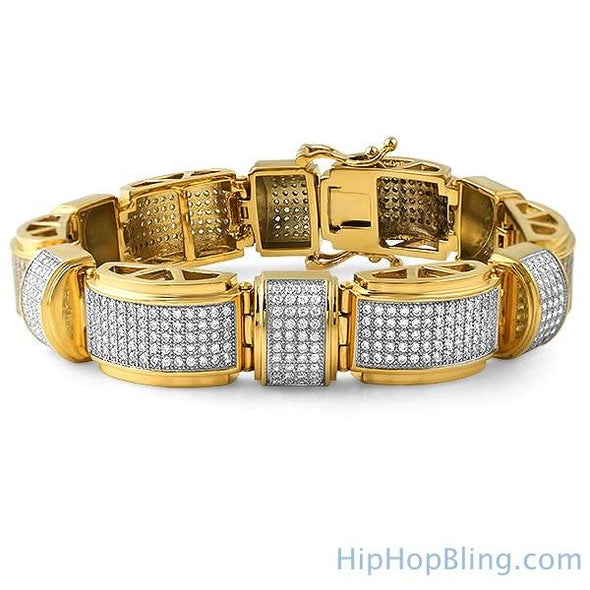 Gold Stainless Steel Domed Bar Bling Bracelet