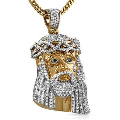 Gold Steel CZ Bling Bling Jesus Piece Large