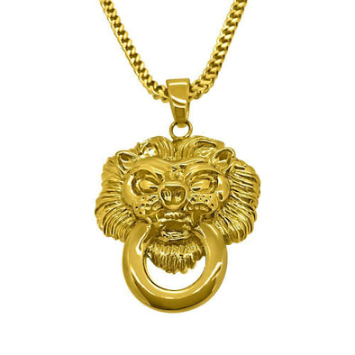 HipHopBling Gold Lion Face Pendant
