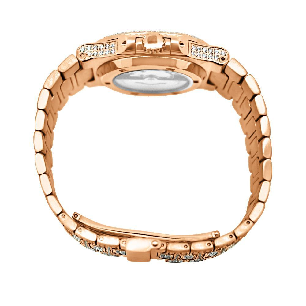 Modern CZ Stainless Steel Watch in Rose Gold