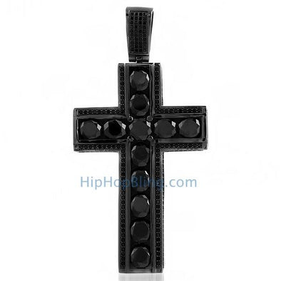 Channel Set Big Rocks Black CZ Bling Bling Cross