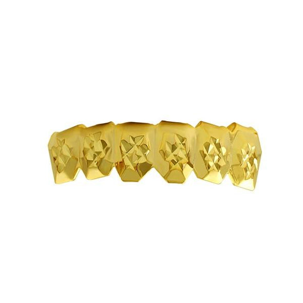 Custom Gold Grillz Diamond Cut Bottom